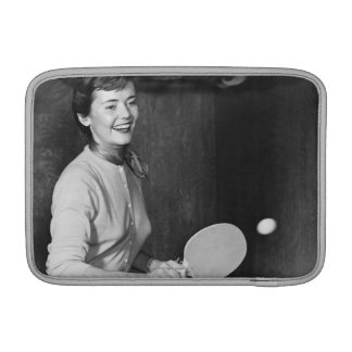 Woman Playing Table Tennis MacBook Sleeve
