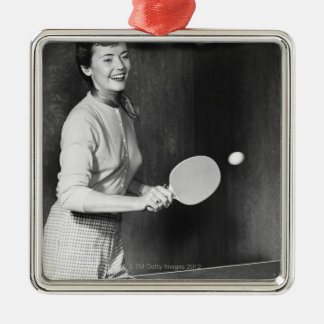 Woman Playing Table Tennis Silver-Colored Square Decoration
