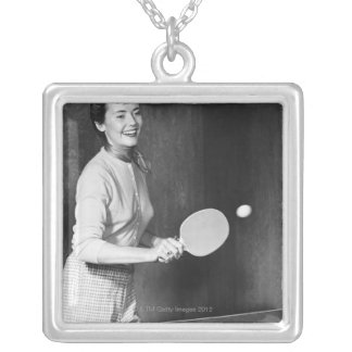 Woman Playing Table Tennis Silver Plated Necklace