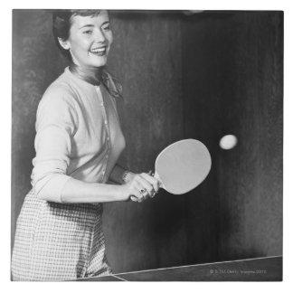 Woman Playing Table Tennis Tile