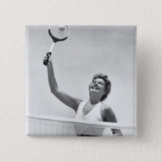 Woman Playing Tennis 2 15 Cm Square Badge