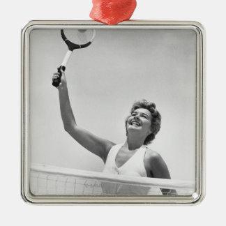 Woman Playing Tennis 2 Christmas Ornament