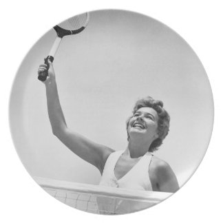 Woman Playing Tennis 2 Plate