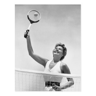 Woman Playing Tennis 2 Postcard