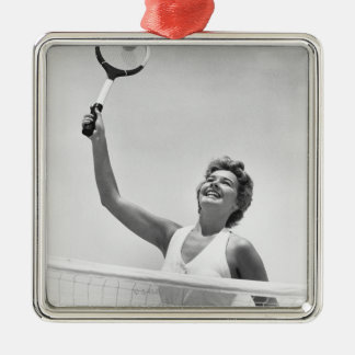 Woman Playing Tennis 2 Silver-Colored Square Decoration