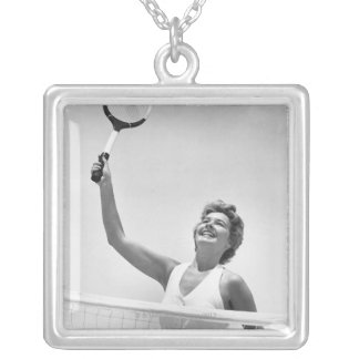 Woman Playing Tennis 2 Silver Plated Necklace