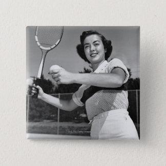 Woman Playing Tennis 3 15 Cm Square Badge