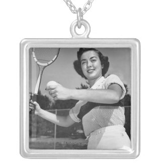 Woman Playing Tennis 3 Silver Plated Necklace