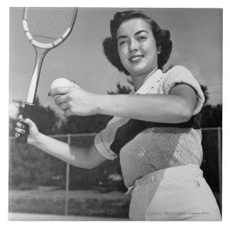 Woman Playing Tennis 3 Tile