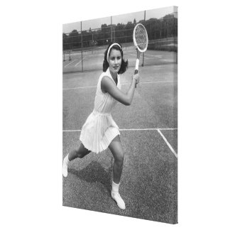 Woman playing tennis canvas prints