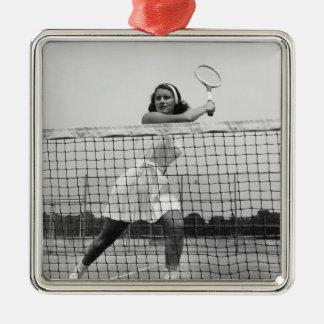 Woman Playing Tennis Christmas Ornament
