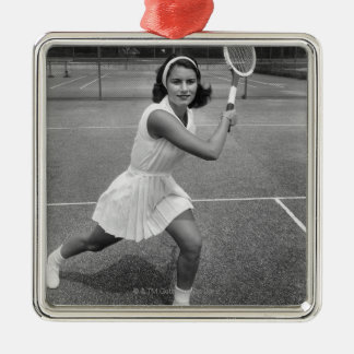 Woman playing tennis Silver-Colored square decoration