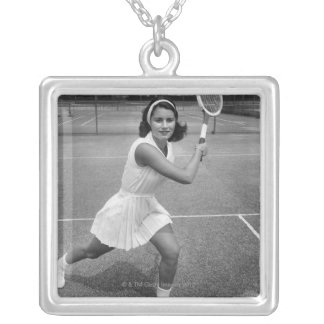Woman playing tennis silver plated necklace