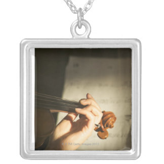 Woman Playing Violin Silver Plated Necklace
