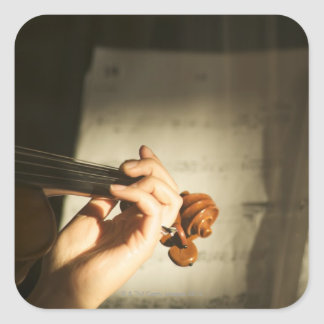 Woman Playing Violin Square Sticker