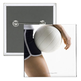 woman playing volleyball 15 cm square badge