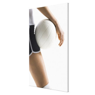 woman playing volleyball stretched canvas print