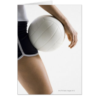 woman playing volleyball greeting card