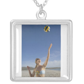Woman playing volleyball on beach silver plated necklace