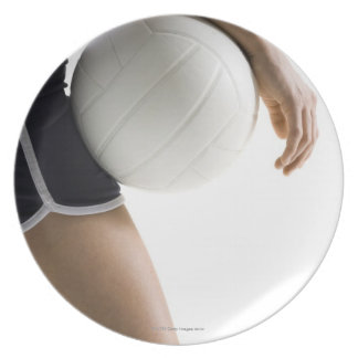 woman playing volleyball party plates