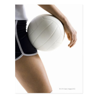 woman playing volleyball post card