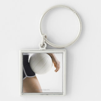 woman playing volleyball Silver-Colored square key ring
