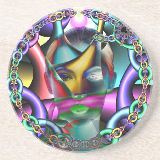 Woman portrait artistic colorful illustration coasters