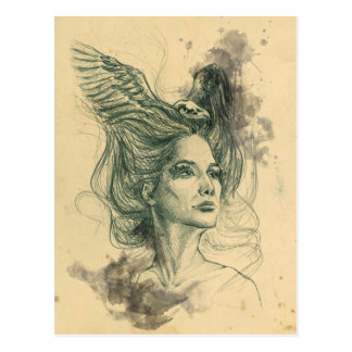 Woman portrait bird skull and wings Postcard