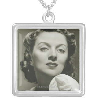 Woman Posing in Studio 2 Square Pendant Necklace