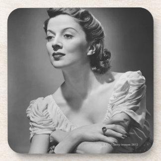 Woman Posing in Studio Coasters