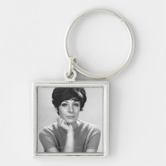 Woman Posing Silver-Colored Square Key Ring