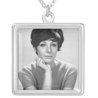 Woman Posing Square Pendant Necklace