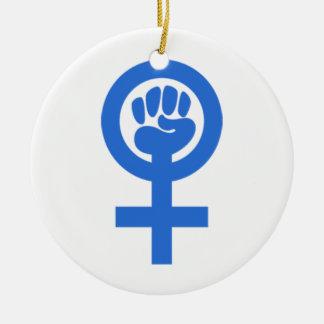Woman Power Round Ceramic Decoration