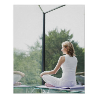 Woman Practicing Yoga Poster