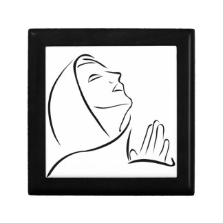 Woman praying looking up at the sky small square gift box