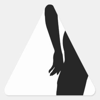 Woman profile silhouette triangle sticker