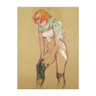 Woman Pulling Up her Stocking, 1894 (oil on card) Canvas Print
