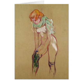 Woman Pulling Up her Stocking, 1894 (oil on card) Greeting Card