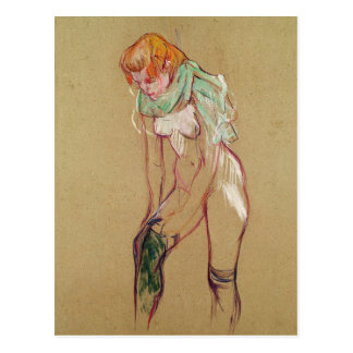 Woman Pulling Up her Stocking, 1894 (oil on card) Postcard
