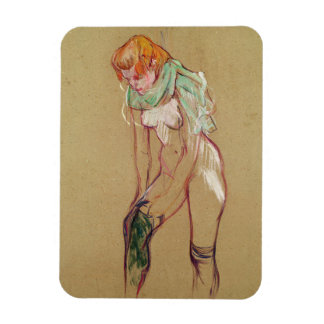 Woman Pulling Up her Stocking, 1894 (oil on card) Rectangular Photo Magnet