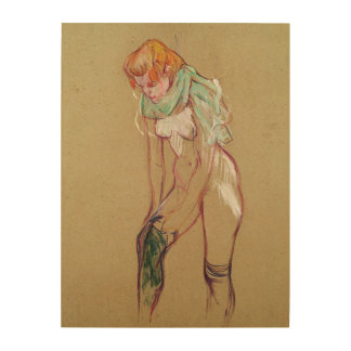 Woman Pulling Up her Stocking, 1894 (oil on card) Wood Prints