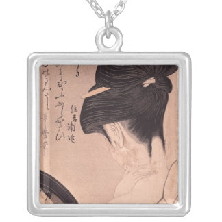 Woman Putting on Make-up Silver Plated Necklace