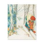 Woman Putting on Skis - Skidloperskan Canvas Print