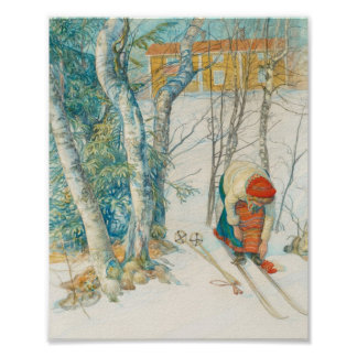 Woman Putting on Skis - Skidloperskan Poster
