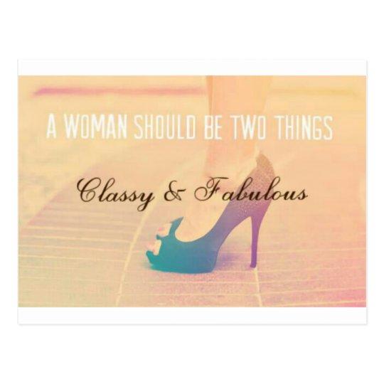 Woman Quotation - Classy & Fabulous Postcard