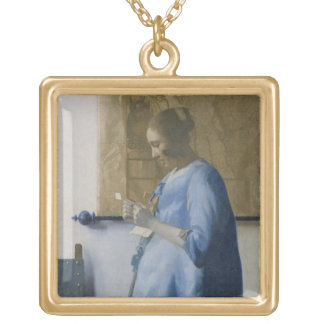 Woman Reading a Letter, c.1662-63 (oil on canvas) Gold Plated Necklace