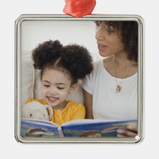 Woman reading book with daughter Silver-Colored square decoration