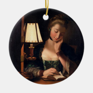Woman Reading by a Paper-bell Shade, 1766 (oil on Christmas Ornament