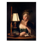 Woman Reading by a Paper-bell Shade, 1766 (oil on Postcards