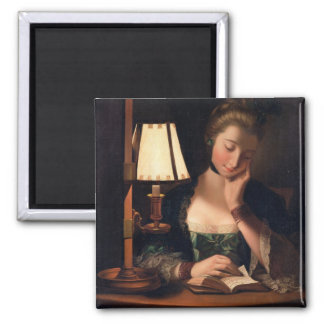 Woman Reading by a Paper-bell Shade, 1766 (oil on Square Magnet